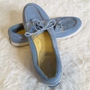 3/$30 Keds Glimmer blue chambray boat shoes size 9